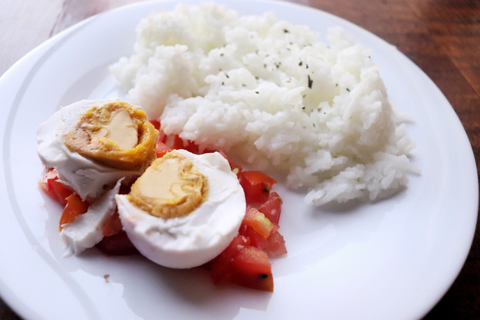 Breakfast Thoughts and Salted Egg and Tomatoes