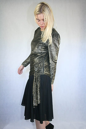 Black and gold 80s partydress. Size S