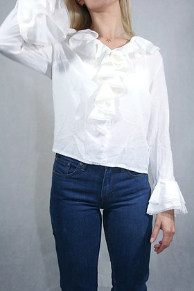 White blouse with frills, size XS