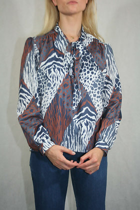 multicolored tie blouse, size M