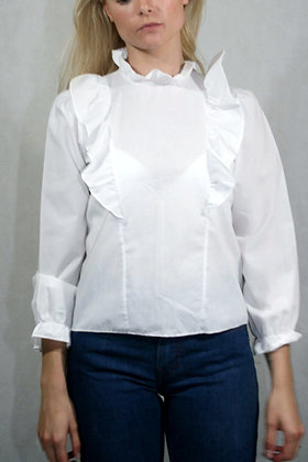 White blouse with ruffles, size XS
