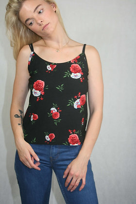 Black floral tank top, size S