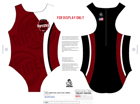 NC Riptides Girls Water Polo Suit