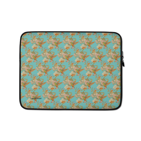 Laptoptasche, Kolibri & Fische, asianblue