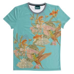 Kolibri und Fische, unisex, asian blue