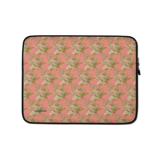 Laptop-Tasche, Kolibri & Fische, apricot