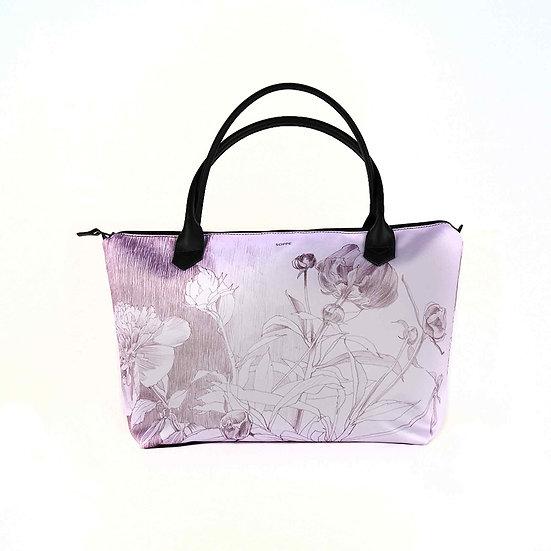 Handtasche aus Satin Monroe und Ledergriffe, Pfingstrose flieder