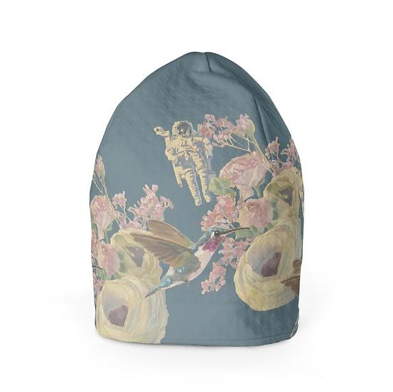Beanie-Mütze, Astronaut und Kolibri, petrol
