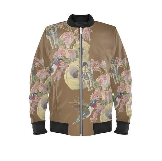 Ladies bomber jacket, duchesse satin, brown