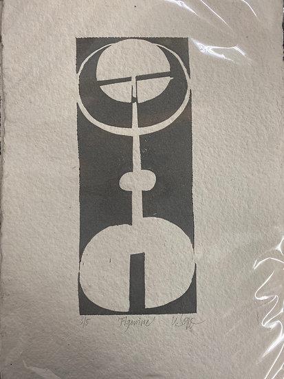 Linolschnitt, Figurine, 30x21, 1 Farbdruck, limitiert