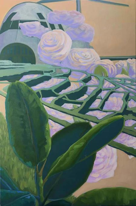Terrasse und Palmenblätter