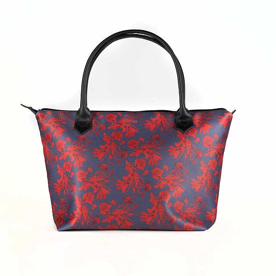 Handtasche aus Satin Monroe und Echt-Ledergriffe, Pfingstrosen Pattern