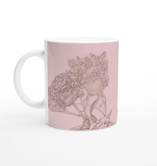 Keramiktasse, Pfingstrosen, rose