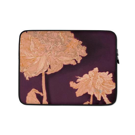 Laptop-Tasche, Blumen, Aubergine