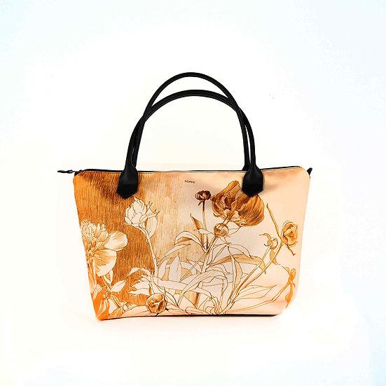 Handtasche aus Satin Monroe und Ledergriffe, Pfingstrose gold, 149 EUR