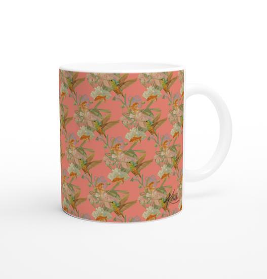 Keramiktasse, Fische und Kolibri, Aprikot