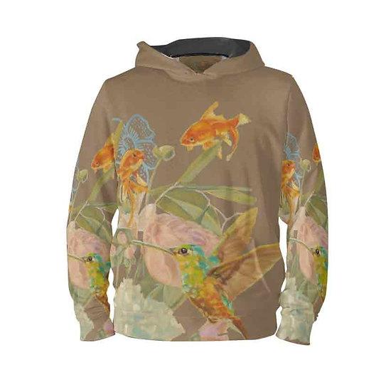 Hoodie-Pullover, Kolibri und Fische, braun, unisex