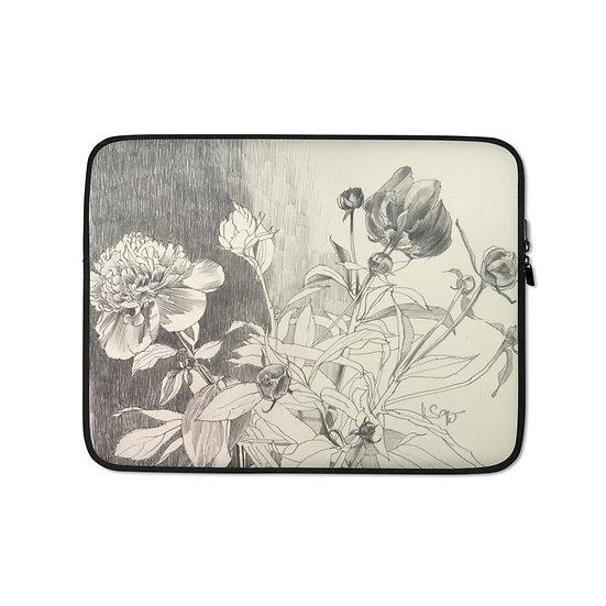 Laptop-Tasche, Blumenzeichnung Graphite 2