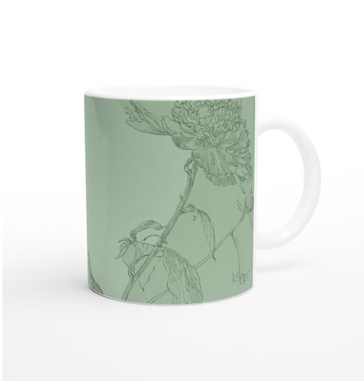 Keramiktasse, Pfingstrosen, saftgrün