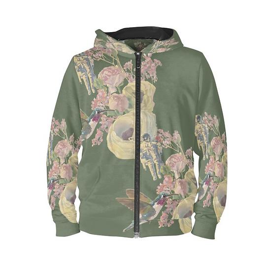 Hoodie mit Reissverschluss, Kolibri und Astronaut, khaki, unisex