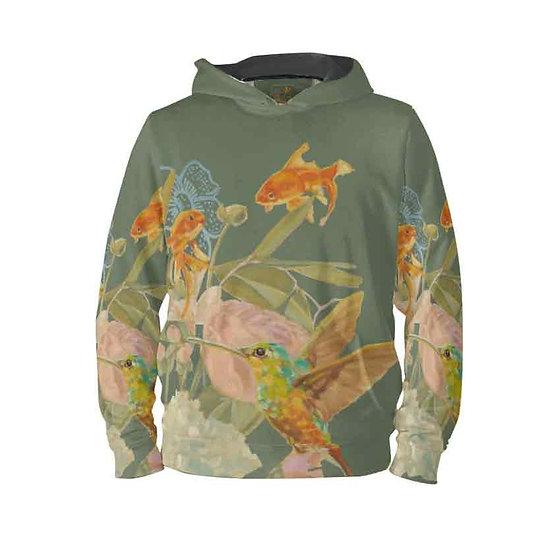 Hoodie-Pullover, Kolibri und Fische, khaki, unisex