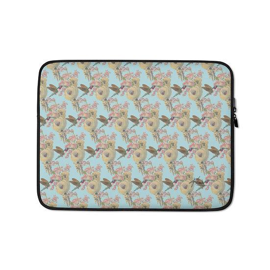 Laptop-Tasche, Kolibri und Astronaut, himmelblau