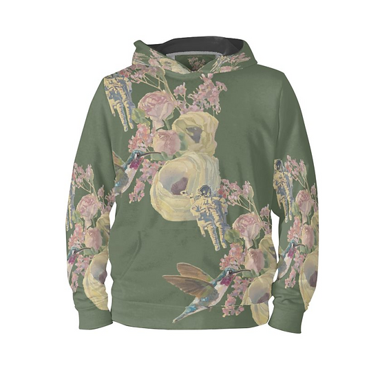 Hoodie-Pullover, Kolibri und Astronaut, khaki, unisex