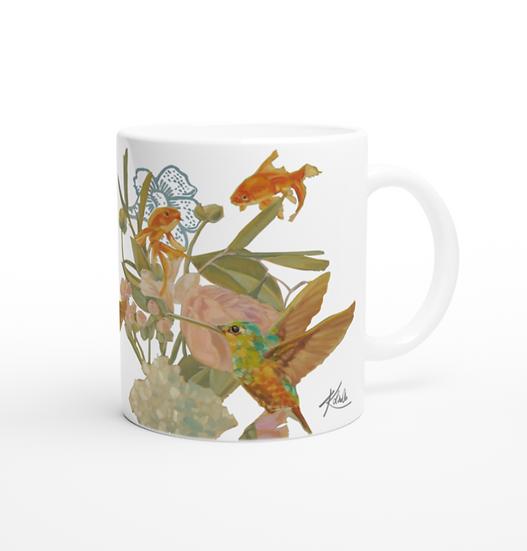 Keramiktasse Fische und Kolibri