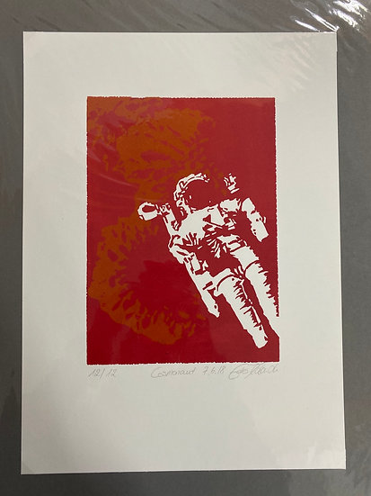 Linolschnitt, Cosmonaut, 24x33, 2 Farbdruck, limitiert