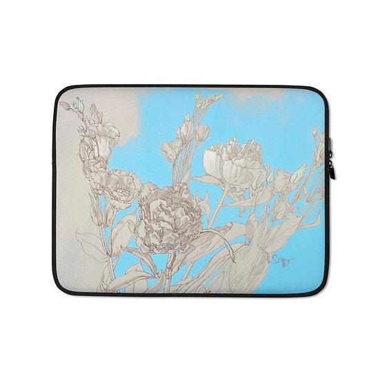 Laptop-Tasche, Blumenzeichnung Graphite/Blau