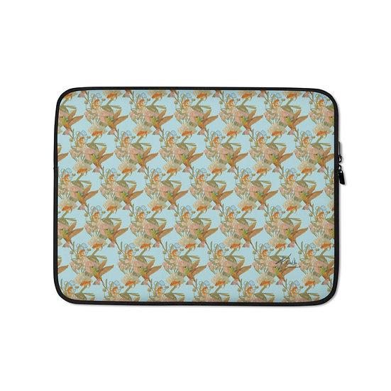 Laptop-Tasche, Kolibri & Fische, himmelblau