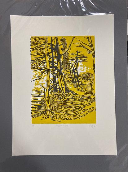 Linolschnitt Ostersee, 30x40, 2 Farbdruck, limitiert