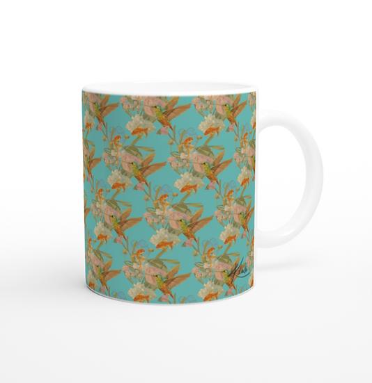 Keramiktasse, Fische und Kolibri, asiatisch blau
