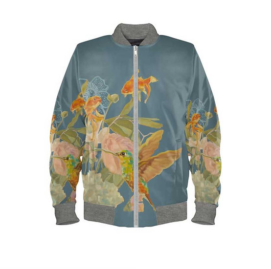 Ladies bomber jacket, duchesse satin, petrol