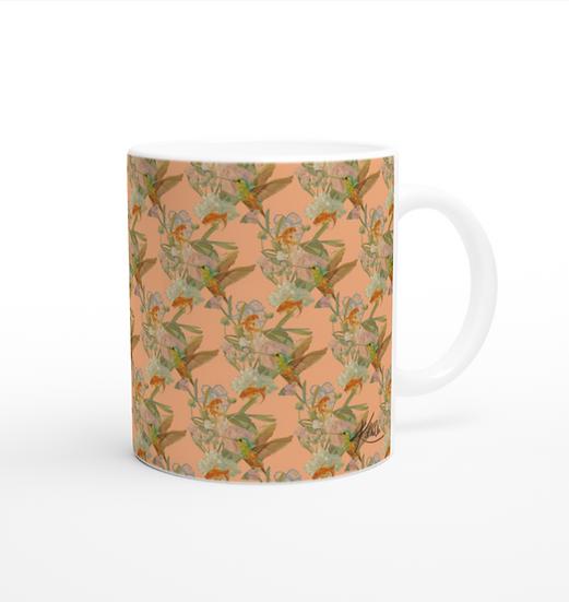 Keramiktasse, Fische und Kolibri, Pfirsich