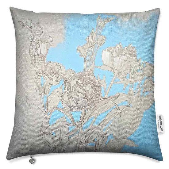 Premium-Kissen, Blumen Graphite/Blau, ab 79 EUR