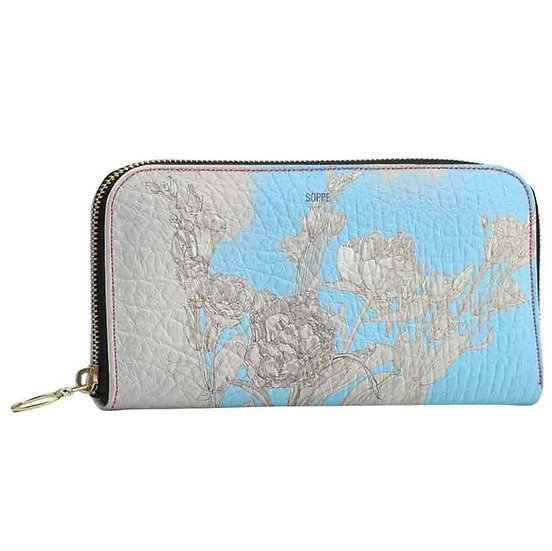 Wallet with zipper, gray / blue