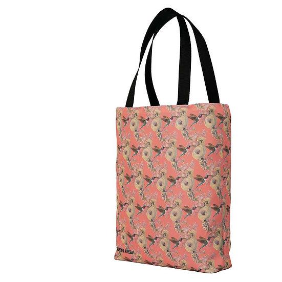 Hochwertige Shopper, Astronaut und Kolibri, apricot, 40 x 40 cm