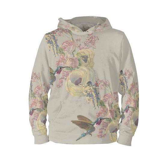 Hoodie-Pullover, Kolibri und Astronaut, beige, unisex