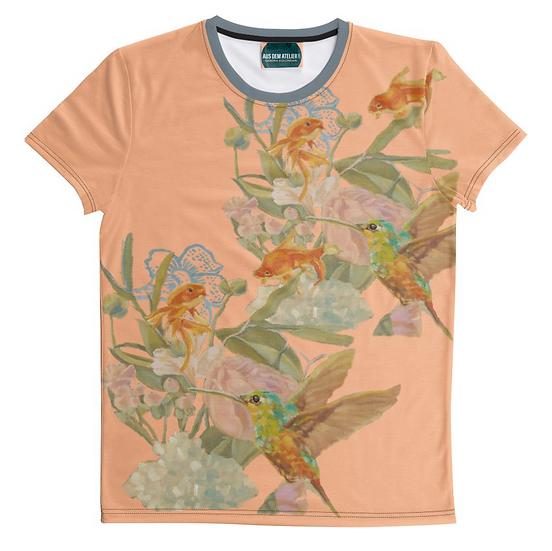 Kolibri und Fische, unisex, pfirsich