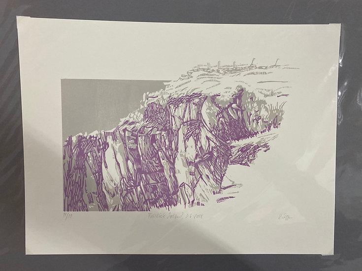 Linolschnitt, Irische Küste, 30x40, 2 Farbdruck, limitiert