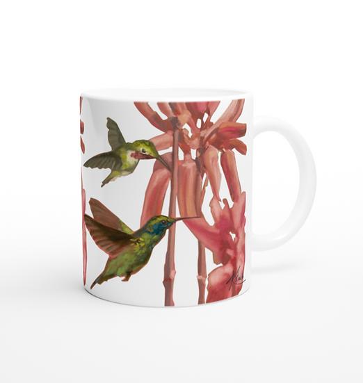 Keramiktasse Kolibri und exotische Blumen