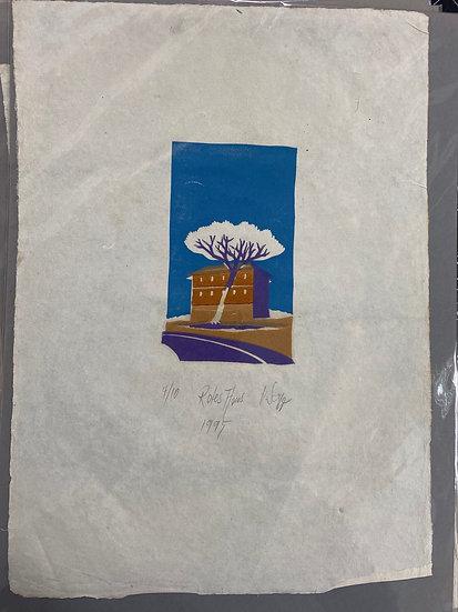 Linolschnitt Haus und Baum 29x40cm, 4 Farbdruck