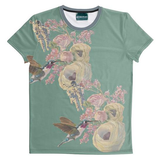 T-Shirt Kolibri und Astronaut, unisex, Minze