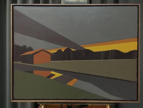 Bayerisches Oberland 1, Acrylfarben auf Leinwand, 91 cm x 73 cm