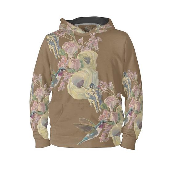 Hoodie-Pullover, Kolibri und Astronaut, braun, unisex