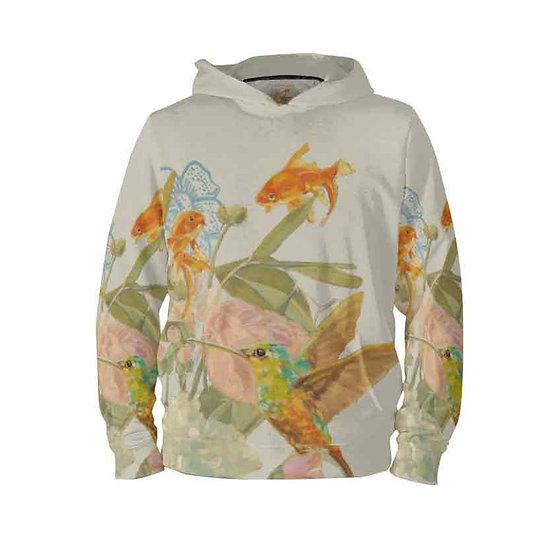 Hoodie-Pullover, Kolibri und Fische,  beige, unisex