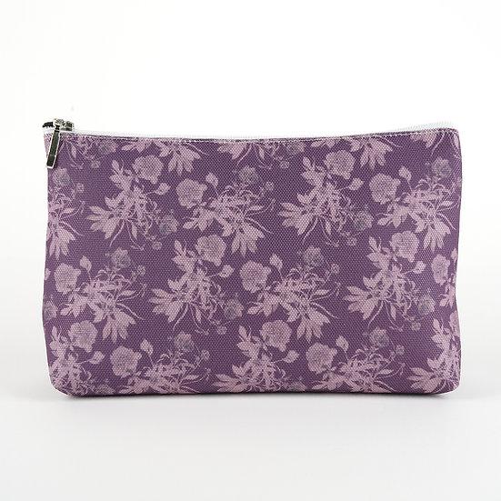 Kosmetiktasche, Blumen pattern, Aubergine