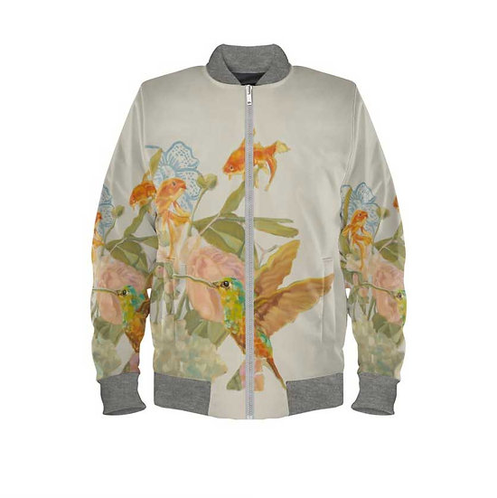 Women's bomber jacket, duchesse satin, beige