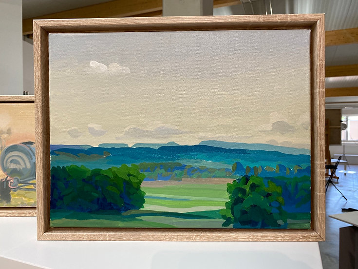 Landschaft Oberland, Acrylmalerei, 38x28, gerahmt